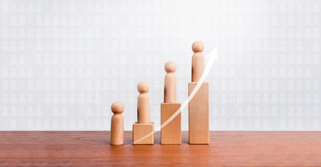 Conceito de crescimento populacional. subindo seta e figuras de madeira em pé sobre um gráfico gráfico crescente etapas organizadas por blocos de cubos de madeira na mesa de madeira e fundo de grade branca com espaço de cópia.