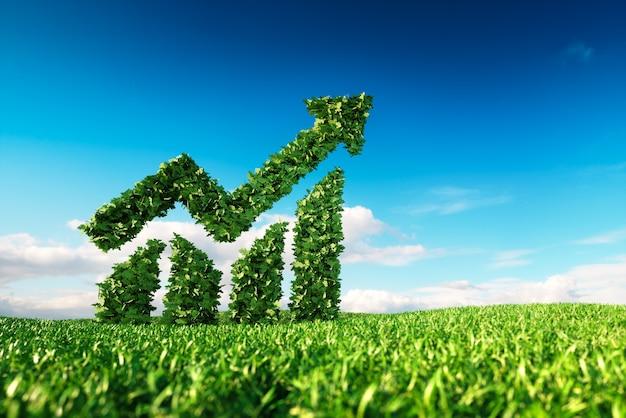 Conceito de crescimento sustentável ecológico. renderização 3d do sinal gráfico e de forma de seta no prado fresco da primavera com o céu azul no fundo.