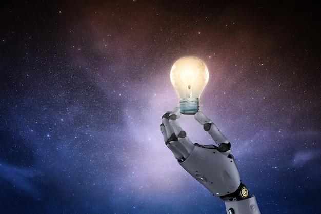 Conceito de criatividade com a mão do robô de renderização em 3d segurando a lâmpada