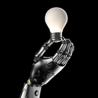 Conceito de criatividade com a mão do robô segura a lâmpada