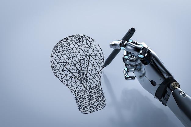 Conceito de criatividade com robô de renderização 3d desenhando lâmpada poligonal
