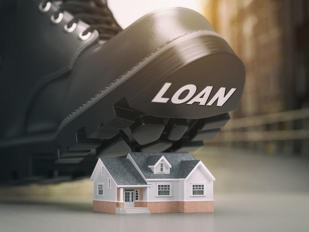 Conceito de crise do empréstimo hipotecário. problemas de execução hipotecária e reintegração de posse. casa e bota com empréstimo. ilustração 3d