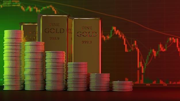 Conceito de crise financeira global uma pilha de barras de ouro e moedas diminuindo à luz do verde e do vermelho com um fundo desfocado como um gráfico de ações - renderização 3d