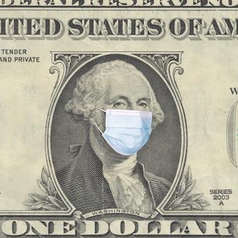 Conceito de crise mundial. retrato de um presidente washington em uma máscara médica. pandemia de coronavírus covid-19