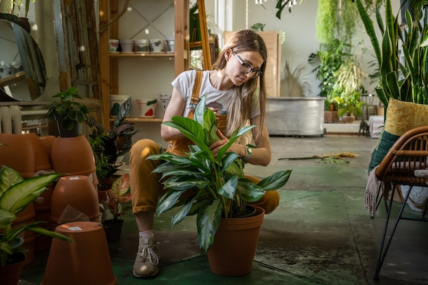 Conceito de cuidados com a planta do jardim doméstico, jovem com macacão replantando a planta de casa em uma grande estufa
