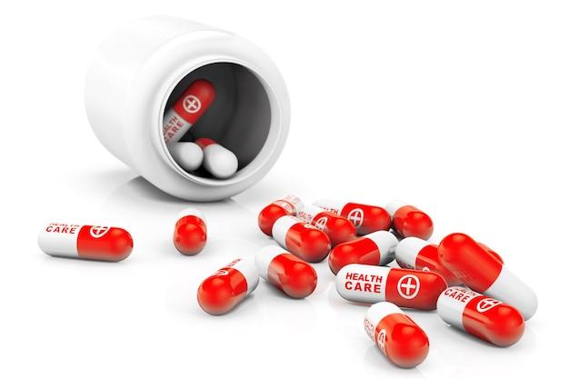 Conceito de cuidados de saúde. frasco médico com comprimidos em um fundo branco