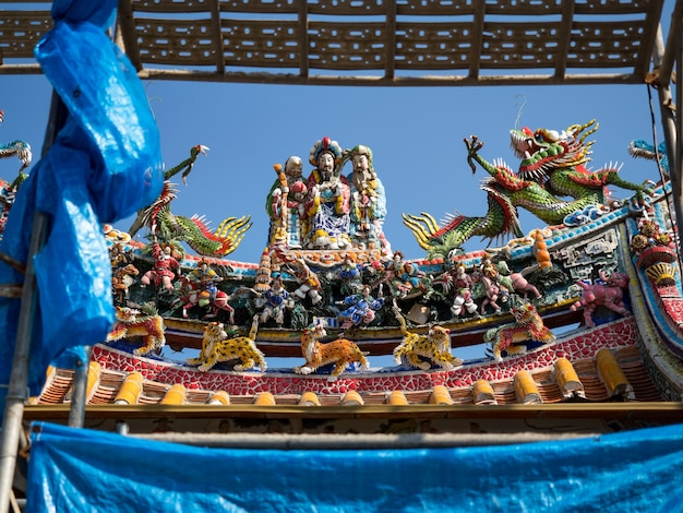 Conceito de cultura da ásia - telhado com bela decoração de um famoso marco histórico, o antigo templo oriental chinês tradicional, lungshan em taipei, taiwan
