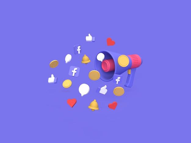 Conceito de custo de orçamento de campanha de marketing do facebook 3d com fundo azul renderizado