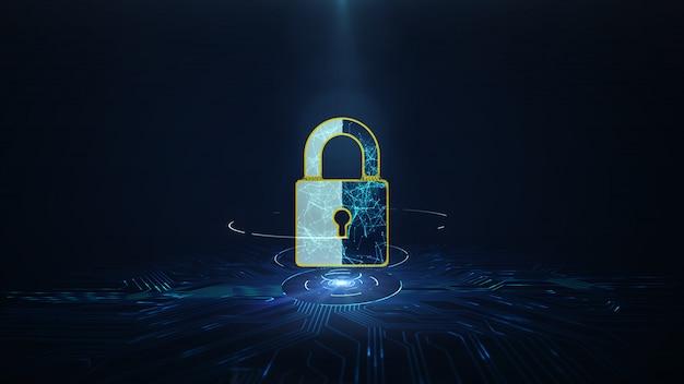 Conceito de cyber security de proteção de dados.