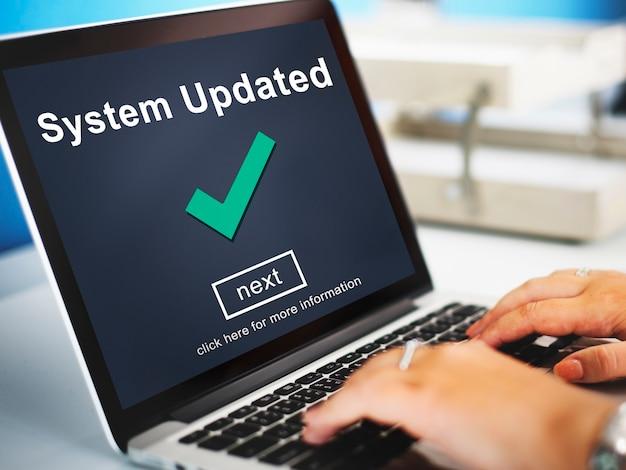 Conceito de dados de conexão do computador atualizado do sistema