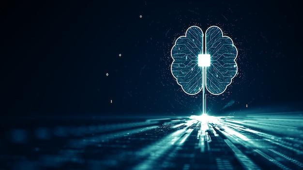 Conceito de dados digitais de animação de cérebro de inteligência artificial de tecnologia (ai).