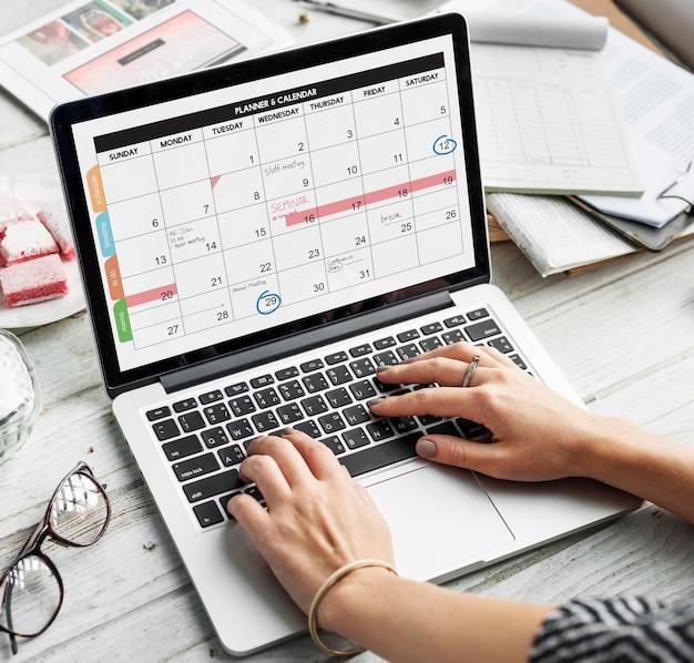 Conceito de data de programação do calendário do planejador