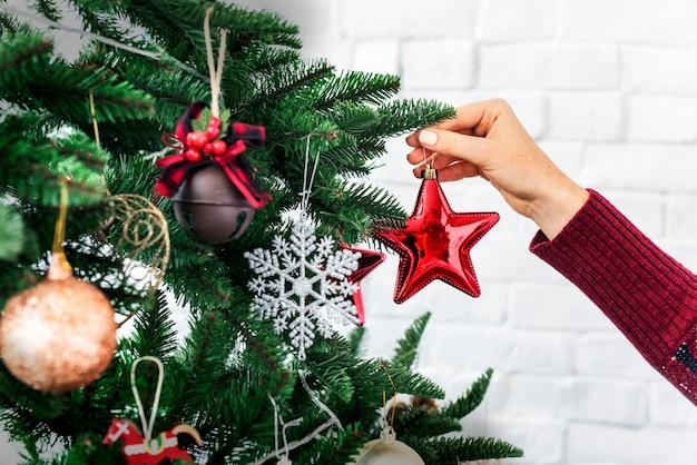 Conceito de decorações de celebração de ano novo de natal