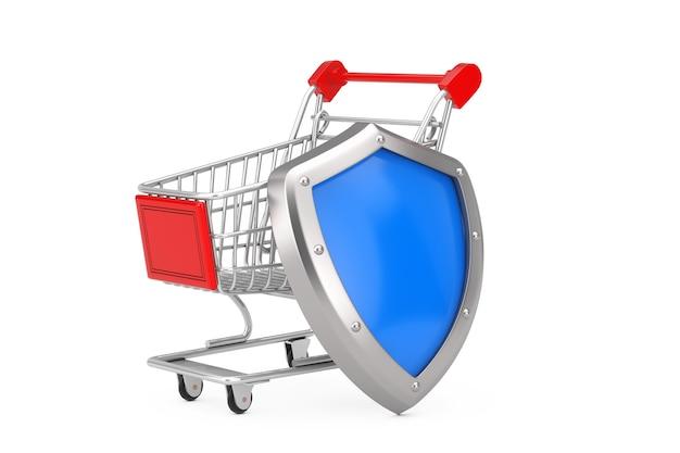 Conceito de defesa do consumidor. carrinho de compras com escudo de metal azul em um fundo branco. renderização 3d