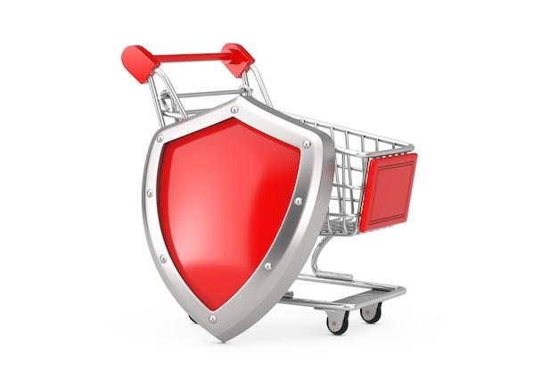 Conceito de defesa do consumidor. carrinho de compras com escudo de metal vermelho em um fundo branco. renderização 3d