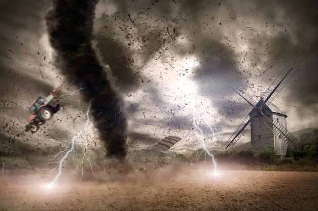 Conceito de desastre de tornado