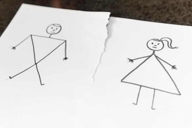 Conceito de desenho de alto ângulo de divórcio