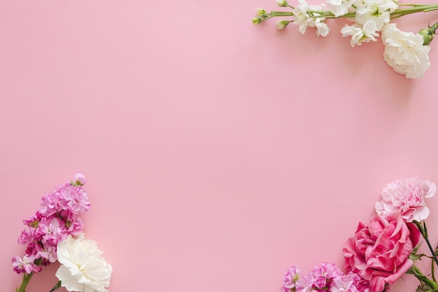 Conceito de design de feriado e dia das mães - vista superior de cravo e rosas no banner de fundo rosa para o dia das mães, casamento e dia dos namorados com espaço de cópia para simulação de vista
