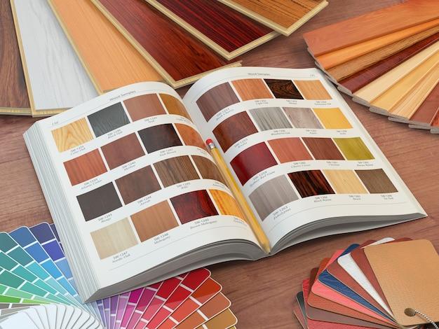 Conceito de design de interiores e renovações de casas. catálogo de amostras de madeira, paleta de cores e amostras de couro. ilustração 3d
