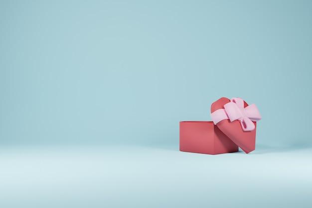 Conceito de design do dia dos namorados da caixa de presente de amor em fundo azul - renderização em 3d