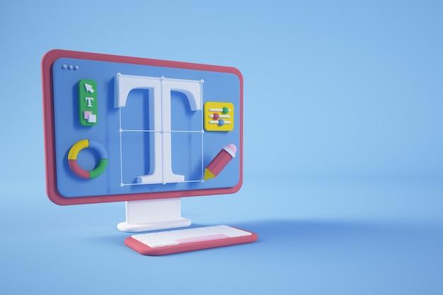 Conceito de design gráfico colorido, renderização em 3d