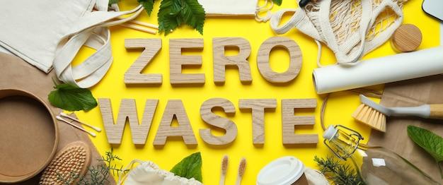 Conceito de desperdício zero ecológico em amarelo