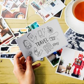 Conceito de destino de viagem de turismo de viagens