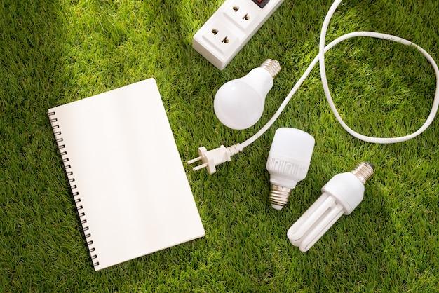 Conceito de dia da terra amigável de eco. poupando energia.