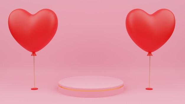 Conceito de dia dos namorados. círculo cor pastel rosa pódio com borda de ouro, balão de coração vermelho.
