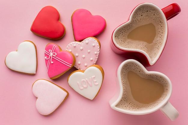 Conceito de dia dos namorados com biscoitos deliciosos