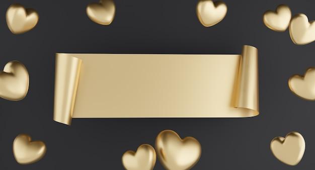 Conceito de dia dos namorados, corações de ouro