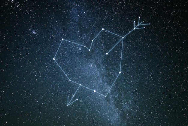 Conceito de dia dos namorados. uma constelação de amor no céu estrelado. flecha de coração e cupido