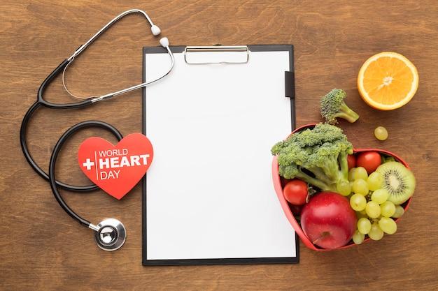 Conceito de dia mundial do coração com comida saudável