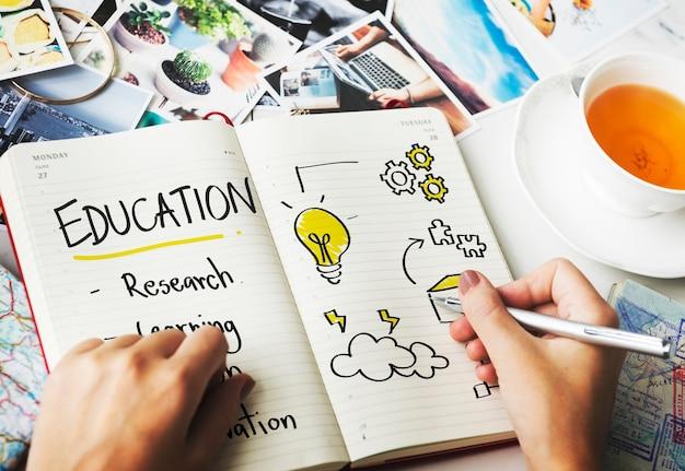 Conceito de diagrama de educação inspire aprenda