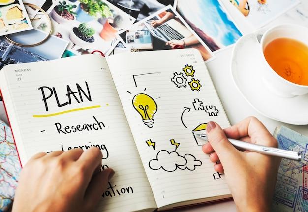 Conceito de diagrama de planejamento de educação, inspire e aprenda