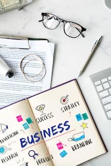 Conceito de diagrama de plano de investimento de meta de negócios