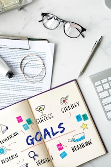 Conceito de diagrama de plano de investimento de negócios de metas