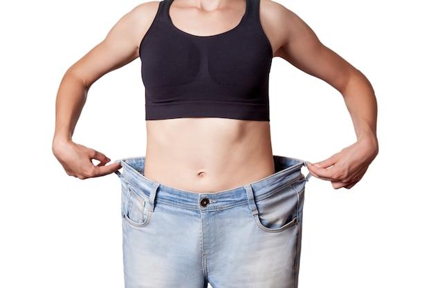 Conceito de dieta e mulher hanppy