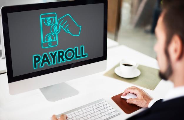 Conceito de dinheiro contábil de pagamento de folha de pagamento