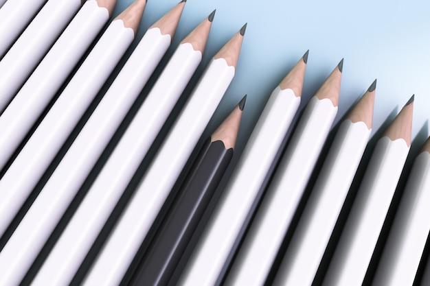 Conceito de discriminação racial. lápis brancos dominam lápis preto