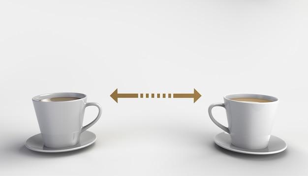 Conceito de distanciamento social com duas xícaras de café separadas por duas setas covid19
