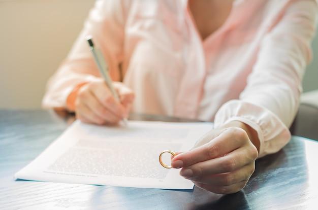 Conceito de divórcio, fim do relacionamento com a mulher segurando o anel de casamento