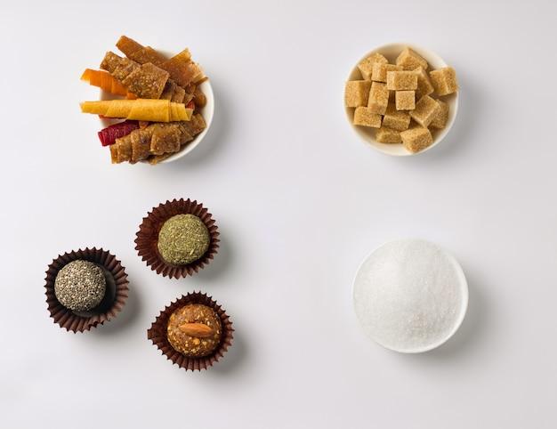 Conceito de doces sem açúcar.