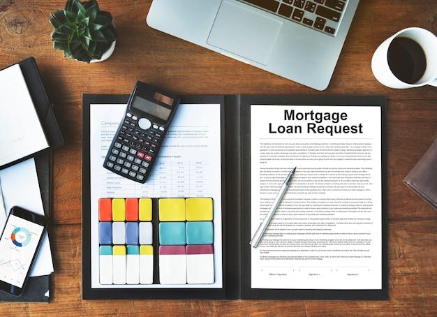 Conceito de documento de modificação de solicitação de empréstimo hipotecário