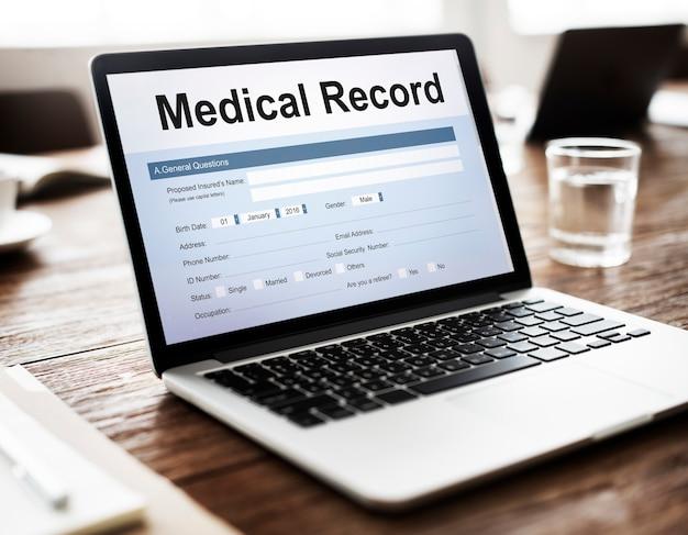 Conceito de documento de saúde de relatório de registro médico