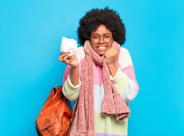 Conceito de doença ou gripe jovem bonita afro