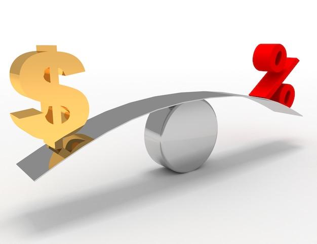 Conceito de dólar e porcentagem. ilustração renderizada 3d
