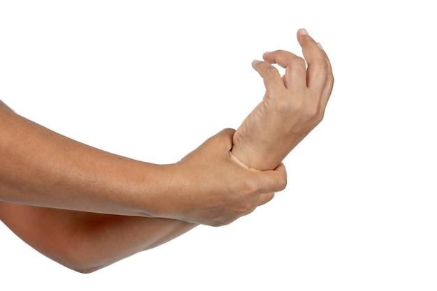 Conceito de dor física lesão no pulso em branco