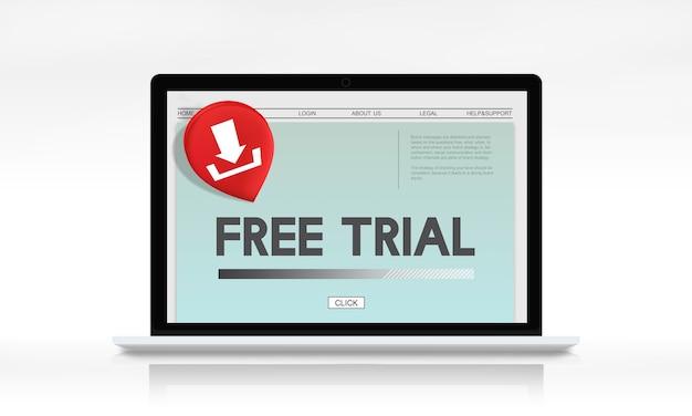 Conceito de download da última atualização de avaliação gratuita