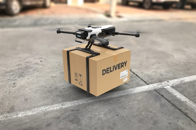 Conceito de drone de entrega